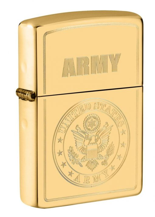 Zippo - U.S. Army Emblem Lighter Front Side Closed Angled