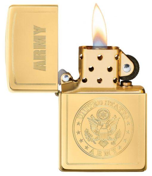 Zippo - U.S. Army Emblem Lighter Front Side Open
