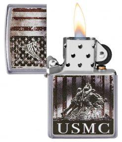 Zippo - U.S. Marine Corps Lighter Front Side Open