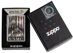 Zippo - U.S. Marine Corps Lighter Front Side Closed in Box