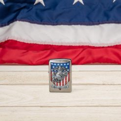 Zippo - U.S. Marine Corps Emblem Lighter Front Side Closed With Flag Background