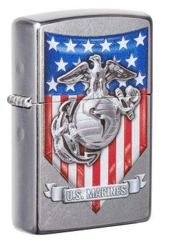 Zippo - U.S. Marine Corps Emblem Lighter Front Side Closed Angled