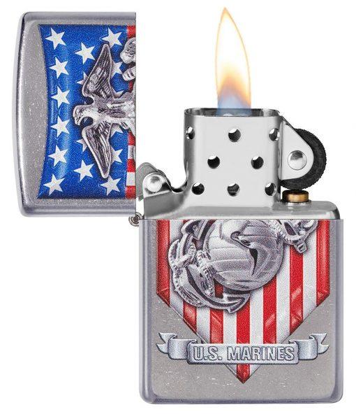 Zippo - U.S. Marine Corps Emblem Lighter Front Side Open