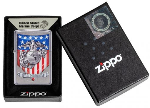 Zippo - U.S. Marine Corps Emblem Lighter Front Side Closed in Box