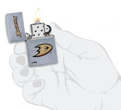 Zippo - Anaheim Ducks Design Lighter Front Side Open With Hand Graphic