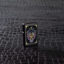 Zippo - NFL Neon Dragon Design Lighter Front Side Closed With Background