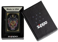 Zippo - NFL Neon Dragon Design Lighter Front Side Closed in Box