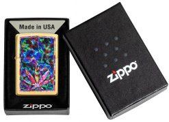 Zippo - Leaf Design Brushed Brass Lighter Front Side Closed in Box