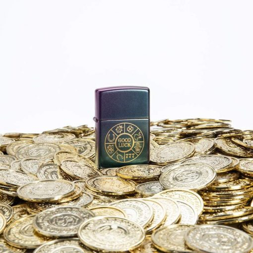 Zippo - Lucky Symbols Design Lighter Front Side Closed With Coin Background