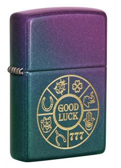 Zippo - Lucky Symbols Design Lighter Front Side Closed Angled