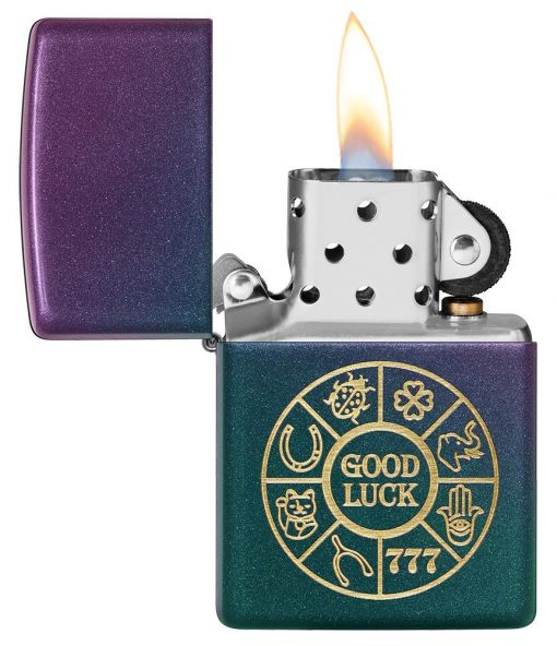 Zippo - Lucky Symbols Design Lighter Front Side Open