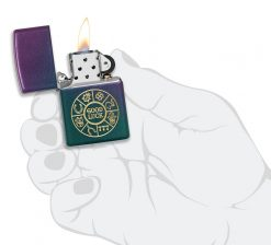 Zippo - Lucky Symbols Design Lighter Front Side Open With Hand Graphic