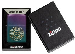 Zippo - Lucky Symbols Design Lighter Front Side Closed in Box