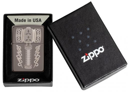 Zippo - Thor's Hammer Lighter Front Side Closed in Box