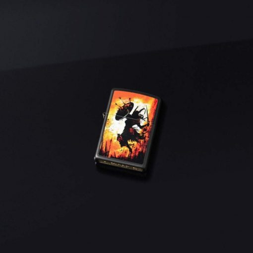 Zippo - Warrior Lighter Front Side Close With Background