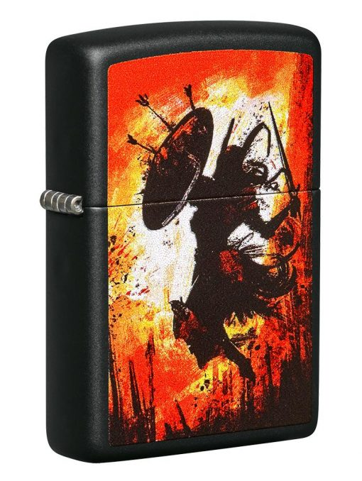 Zippo - Warrior Lighter Front Side Closed Angled