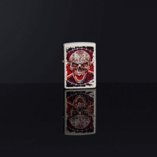 Zippo - Skull Design Mercury Glass Lighter Front Side Closed With Background