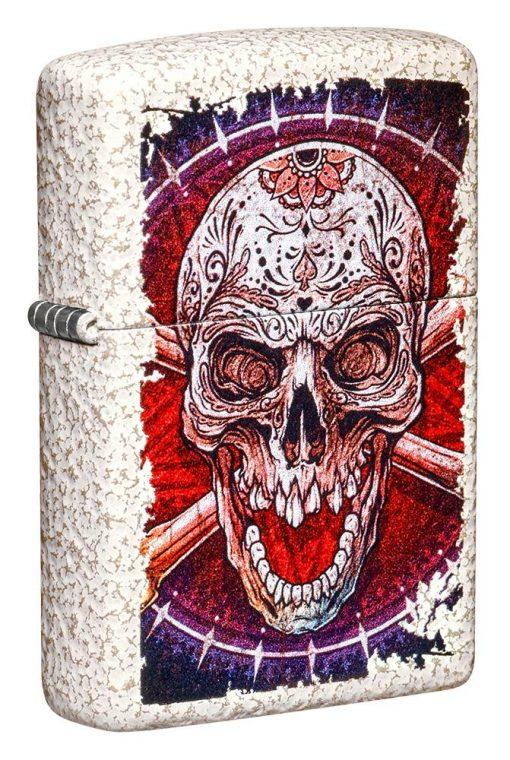 Zippo - Skull Design Mercury Glass Lighter Front Side Closed Angled