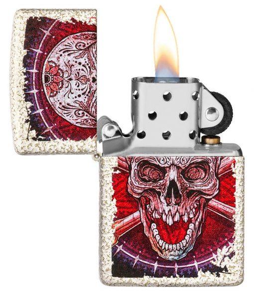 Zippo - Skull Design Mercury Glass Lighter Front Side Open