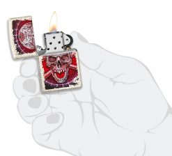 Zippo - Skull Design Mercury Glass Lighter Front Side Open With Hand Graphic
