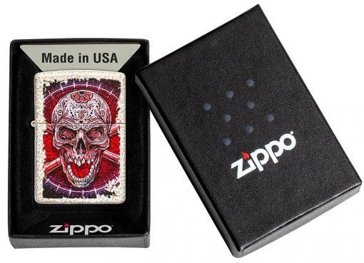 Zippo - Skull Design Mercury Glass Lighter Front Side Closed in Box