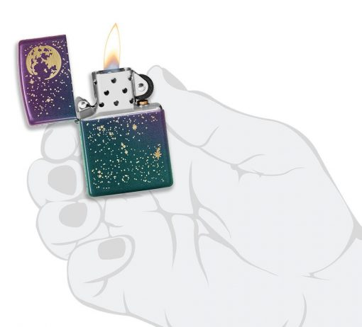 Zippo - Starry Sky Lighter Front Side Open With Hand Graphic