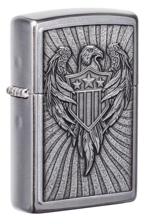 Zippo - Eagle Shield Emblem Design Lighter Front Side Closed Anfgled