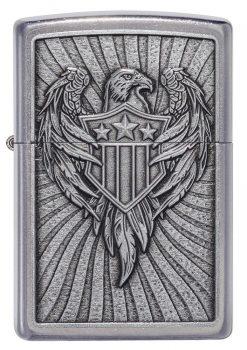 Zippo - Eagle Shield Emblem Design Lighter Front Side Closed