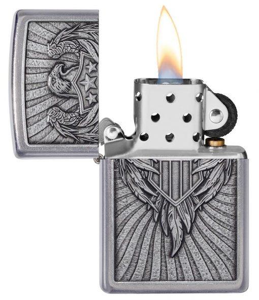 Zippo - Eagle Shield Emblem Design Lighter Front Side Open
