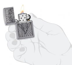 Zippo - Eagle Shield Emblem Design Lighter Front Side Open With Hand Graphic
