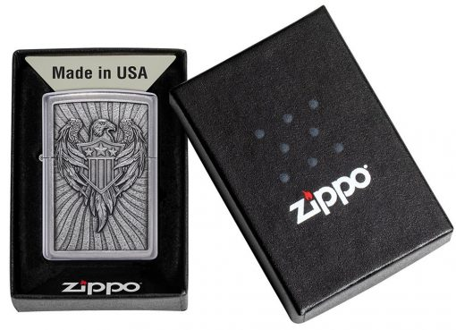 Zippo - Eagle Shield Emblem Design Lighter Front Side Closed in Box