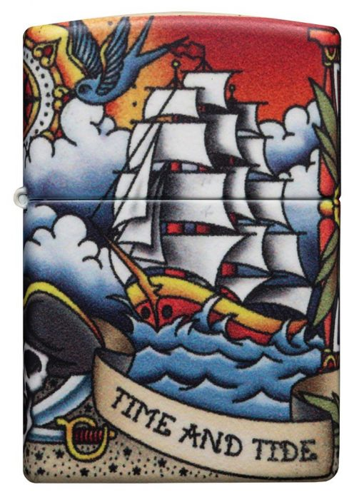 Zippo - Nautical Tattoo Design Lighter Front Side Closed