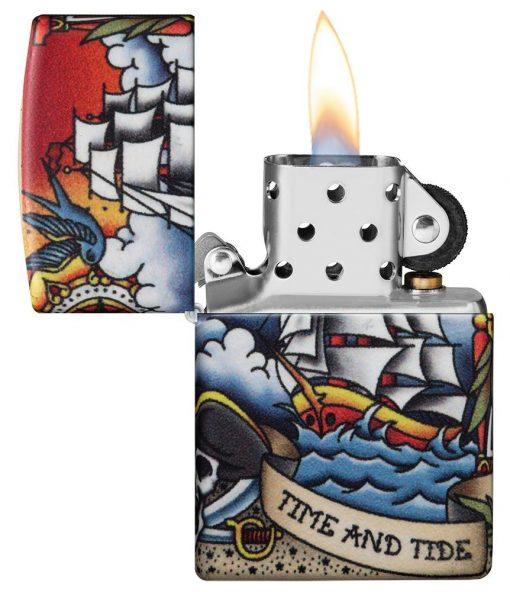 Zippo - Nautical Tattoo Design Lighter Front Side Open