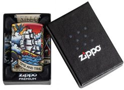 Zippo - Nautical Tattoo Design Lighter Front Side Closed In Box