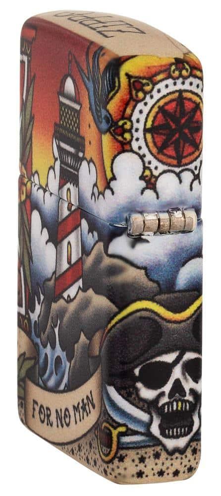 Zippo - Nautical Tattoo Design Lighter Side Profile Hinge Side