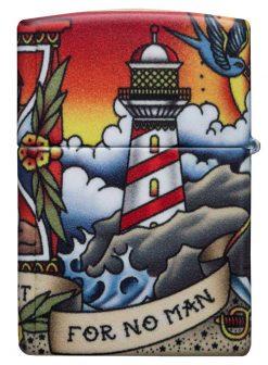 Zippo - Nautical Tattoo Design Lighter back Side Closed Angled