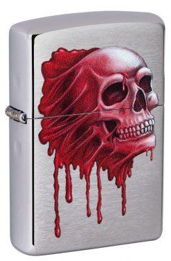 Zippo - Skull Design Brushed Chrome Lighter Front Side Closed Angled