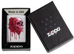 Zippo - Skull Design Brushed Chrome Lighter Front Side Closed in Box