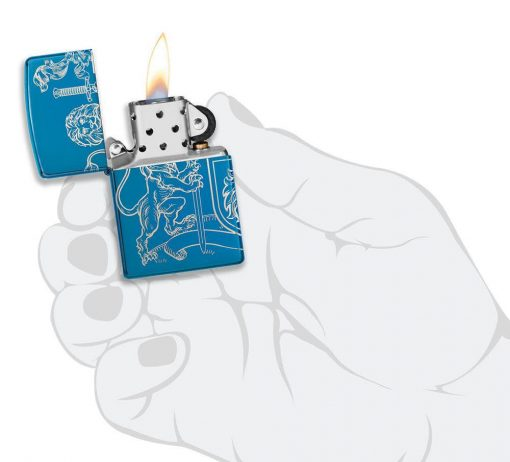 Zippo - Medieval Coat of Arms Design Lighter Front Side Open With Hand Graphic