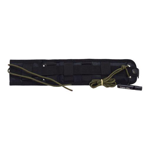 TOPS - Alaskan Harpoon Black 1095 Blade Black Linen Micarta Handle Sheath Back Side