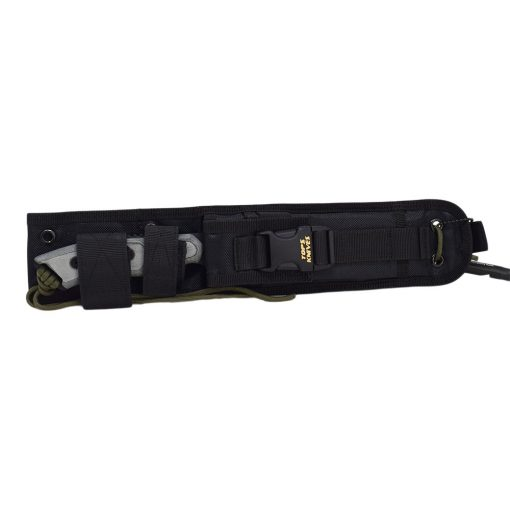 TOPS - Alaskan Harpoon Black 1095 Blade Black Linen Micarta Handle Sheath Front Side