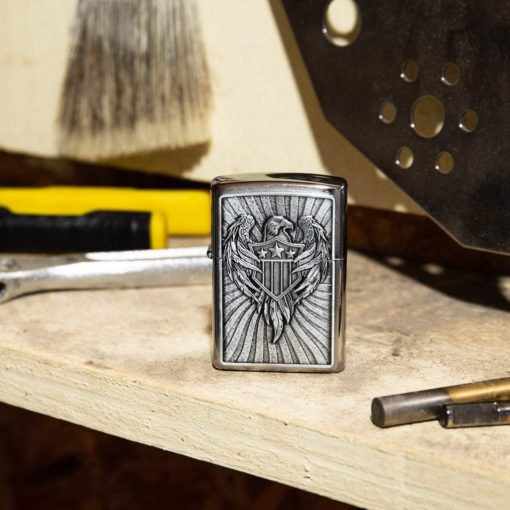 Zippo - Eagle Shield Emblem Design Lighter Front Side Closed With Background