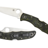 Spyderco Endura 4 Lockback Knife Flat Ground Satin Plain Edge Zome Green FRN Handle Front Side Open and Front Side Closed