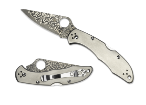 Spyderco Delica 4 Lockback Knife Damascus Blade Titanium Handle Front Side Open and Front Side Closed