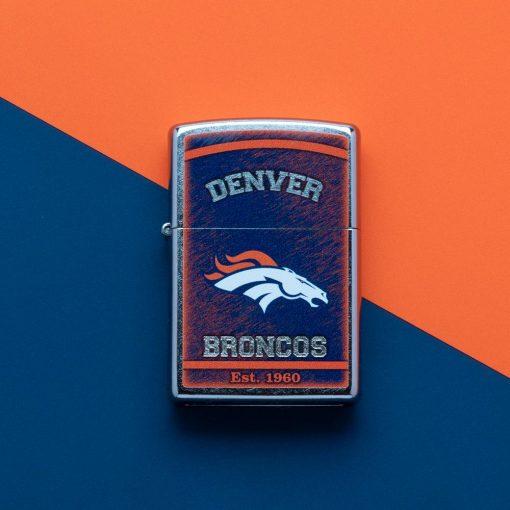 Zippo - NFL Denver Broncos Design Lighter Front Side Closed With Color Background