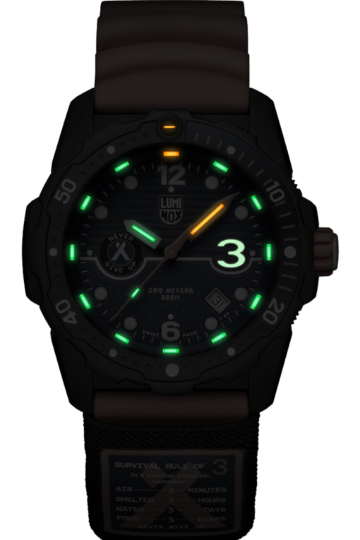 Luminox Bear Grylls Survival SEA Rule of 3 Limited Edition Black/Orange Front Side Center Night