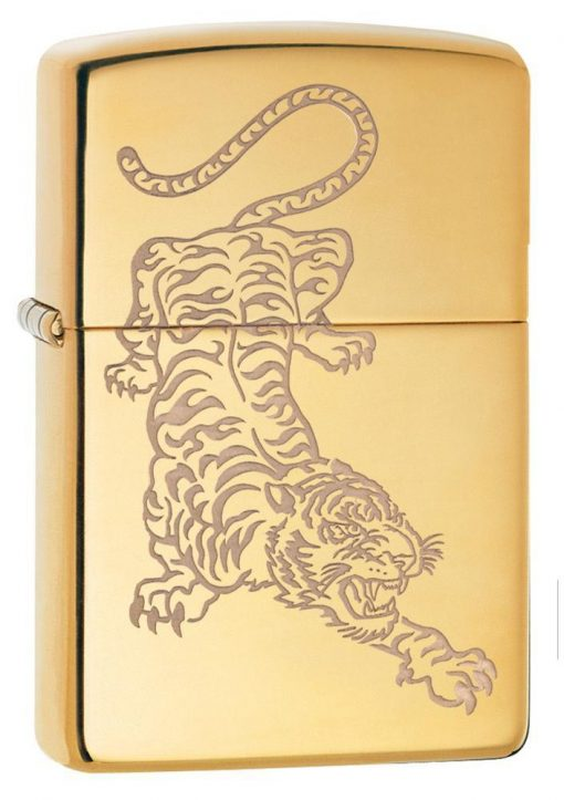 Zippo - Tiger Lighter Front Side Closed