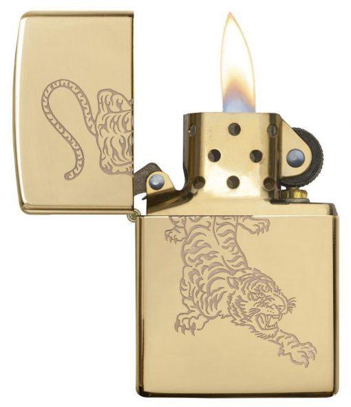 Zippo - Tiger Lighter Front Side Open