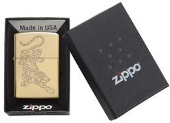 Zippo - Tiger Lighter Front Side Closed in Box