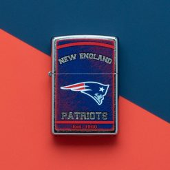 Zippo - NFL New England Patriots Design Lighter Front Side Closed With Color Background
